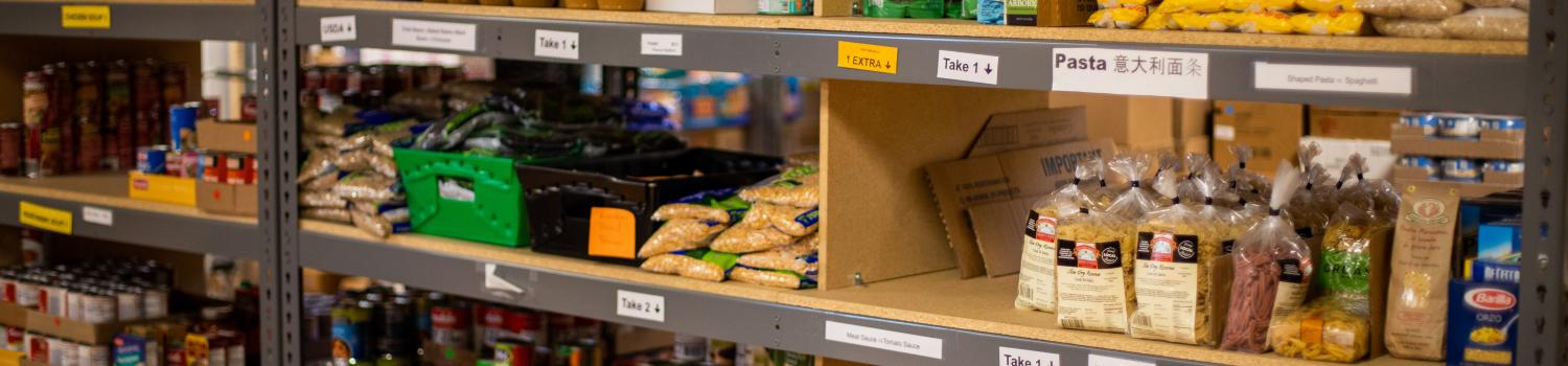 a picture of a shelf from a food bank