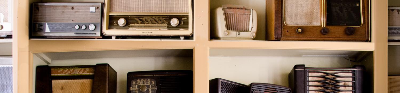 Shelves of antique radios