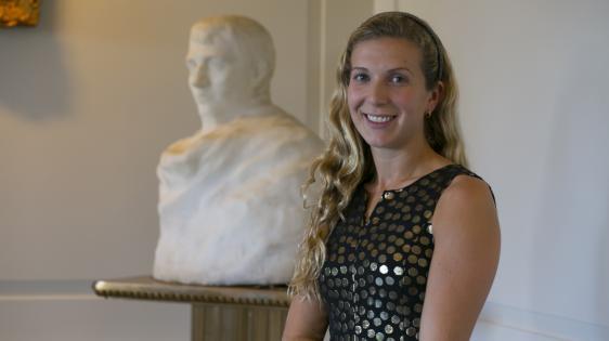Photo of Mallory Mortillaro and Rodin sculpture