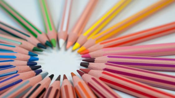 a circle of coloring pencils